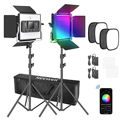 Neewer 2 Paquetes de Luz LED 480 RGB con Control de Aplicación Iluminación de Video para Fotografía con Soporte y Caja SMD CRI95/3200K-5600K/Brillo 0-100%/0-360 Colores Ajustables/9 Escenas Aplicables