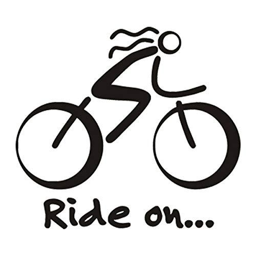 SUPERSTICKI Ride On fiets pictrogram omtrek 15 cm sticker autosticker, wandtattoo professionele kwaliteit voor lak, ruit, enz. wasstraatbestendig