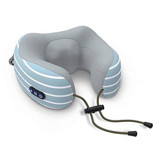 Massaggio Elettrico a Forma di U Cuscino Collo massaggiatore cervicale ad Alta frequenza Motore di Vibrazione Doppio Movimento Potenza 10 Minuti Normale casa Auto Ufficio, Blu