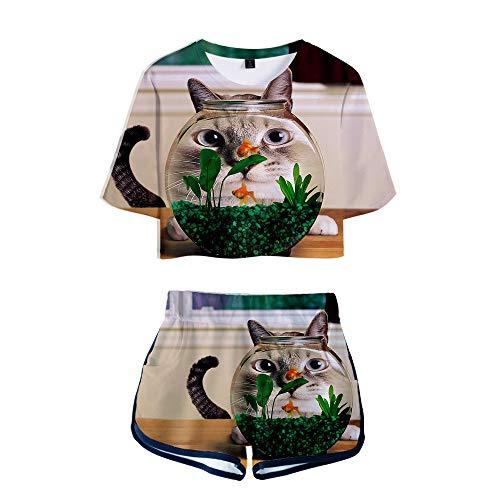 wywyet 3D Deux pièces Ensembles t-Shirt à Manches Courtes imprimé Chat Animal + Short Costume Femmes étudiant Jeunesse vêtements, XXL