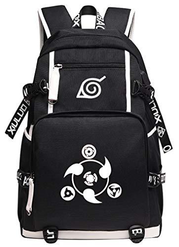 Cosstars Naruto USB Ladeanschluss Anime Rucksack Schulrucksack Backpack Schultasche Schwarz