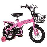 LiRuiPengBJ Bicicleta para niños Bicicleta para Niños con Ruedas de Entrenamiento para Niños y Niñas de 2 A 9 Años, 12 14 16 18 Bicicleta para Niños Pequeños con Cesta y Asiento Trasero para Niños