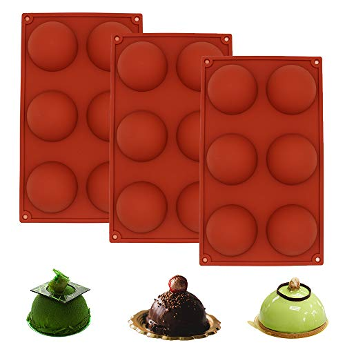 6-Cavity Large Silicone Mold Semi Sphere Silicone Molds 3 Packs 6 Holes Dia 2.6 inch Round Cake Molds Silicone Baking Molds for Making Chocolate, Cake, Jelly, Candy, Dome Mousse, Brick Red