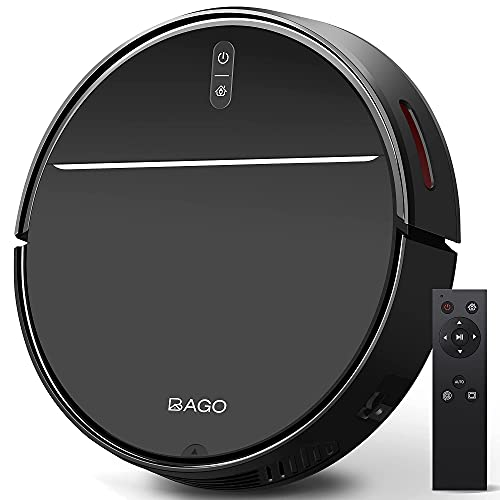 BAGO Robot Vacuum Cleaner, 2000Pa Strong Suction, Self-Charging, Quiet Slim, 600ML Dustbin Automatic Robotic Vacuum Cleaner with 4400mAh for Pet Hair, Tile Floor, Hard Floor, Low Pile Carpet