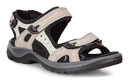 ECCO Women's Yucatan outdoor offroad hiking sandal (Colour: Ice White and Black Sandal)