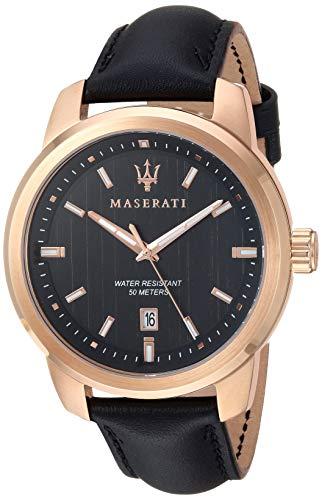 Maserati Herren Analog Quarz Uhr mit Leder Armband R8851121011