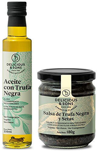 Delicious & Sons Pack Salsa de Trufa Negra y Setas y Aceite con Trufa Negra - Sin Transgénicos - Sin Gluten - Sin Azúcares Añadidos - Aptos para dietas Paleo y Keto