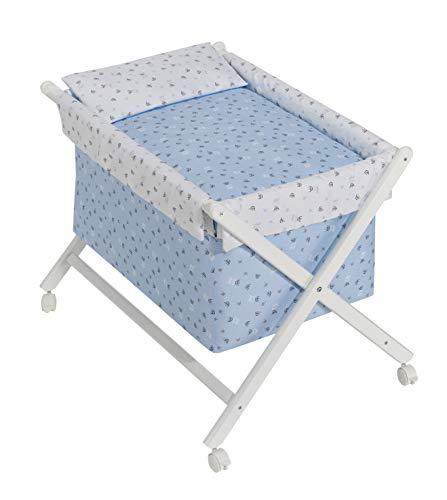 Minicuna mibebestore Plegable Cuadros Azul: Estructura + Vestidura + Colcha Desenfuntable + Colchón + Almohada