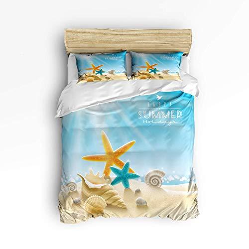 Butlerame 3 Piece Bedding Set Closure Starfish Conch Beach Sunshine Comforter Cover Set Duvet Cover