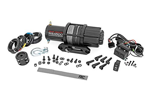 """Rough Country 4,500 LB UTV/ATV Electric Winch   50 FT 1/4"""" Synthetic Rope   1.4 HP   Fairlead   Clevis Hook   RS4500S"""