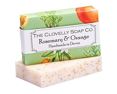 Clovelly Soap Co Natürliche handgemachte Peeling Seife für alle Hauttypen Rosmarin & Orange 100g