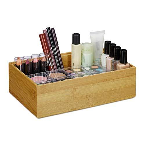 Relaxdays Ordnungsbox Bambus, stapelbar, natürliche Optik, Aufbewahrungsbox Küche, Bad, HxBxT: 7 x 23 x 15 cm, natur
