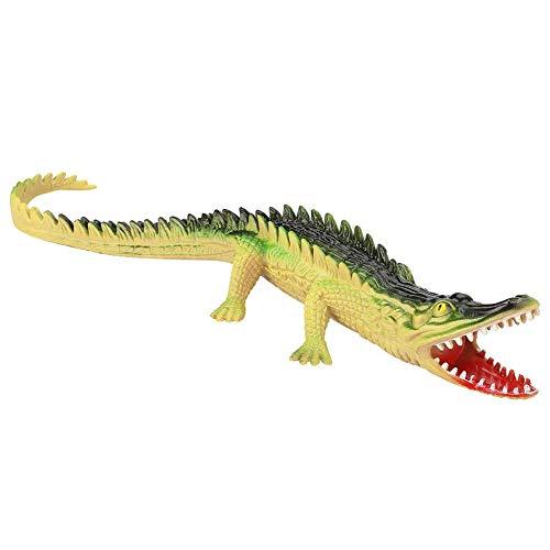 Wytino Modelo Animal, plástico Suave cocodrilo Reptil Modelo Animal con Sonido niños Educativo Anti-estrés Juguete de ventilación(Color Claro)