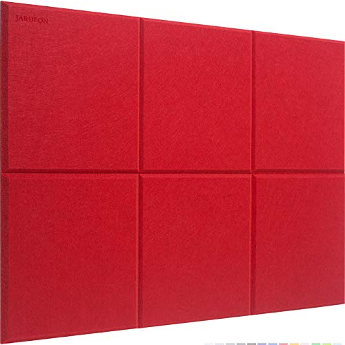 JARDEON Acoustic Panels Navy Blue Polyester Sound Proof Padding Padding Beveled Edge Tiles for Echo Bass Insulation 12'' X 12'' X 0.4'', 6 Pack