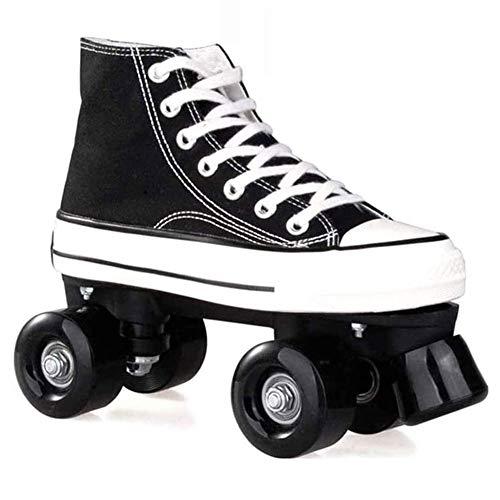 WING Discoroller Erwachsene, LED Rollschuhe für Damen und Herren, Outdoor Quad-Skates Rollerskates für Mädchen und Jungen,Schwarz,43