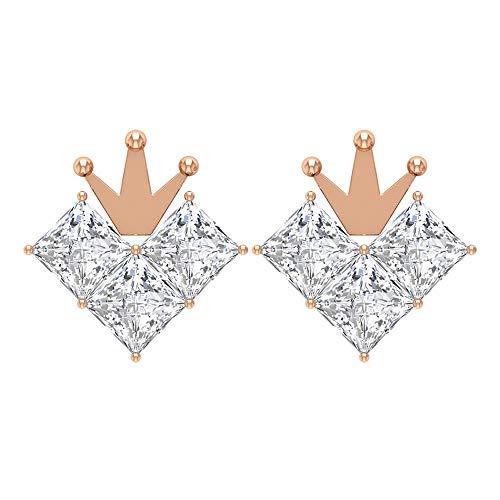 Pendientes de corona, HI-SI 3/4 ct, corte princesa, delicada tiara, pendientes de diamante, pendientes de diamante, pendientes de boda único, regalo para niñas 10K Oro rosa, Par
