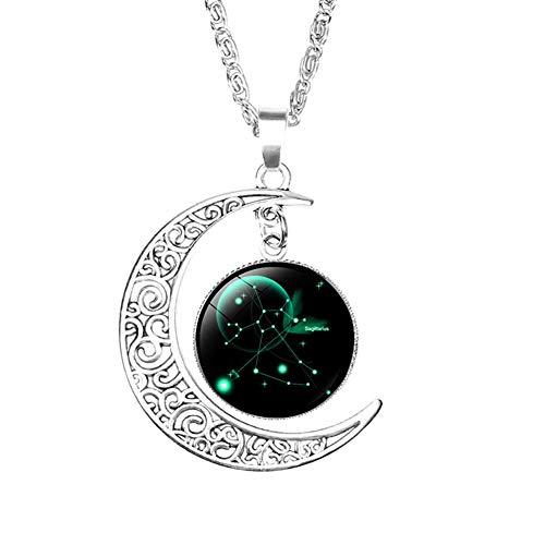 LAAT Collar con Colgante de Constelación y Luna Regalo para Mujeres y Hombre San Valentín Size 50cm (Sagitario)