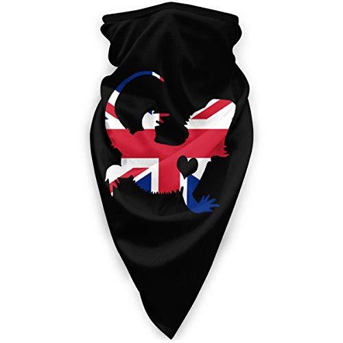 ENZOOIHUI Drapeau Britannique Dragon Barbu Silhouette Masque Facial Bandanas pour Hommes Femmes, Chapeaux Coupe-Vent pour l'extérieur, Sports