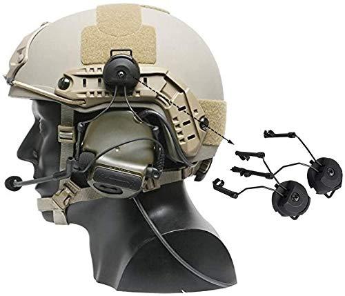 SATOHA 1pair taktischer Helmschienen-Suspension-Headset-Träger, Bogenschiene-Headset-Helm-Adapter-Kopfhörer-Halterung-Links- und rechte Side-Anhänge für Peltor Comtac (schwarz)