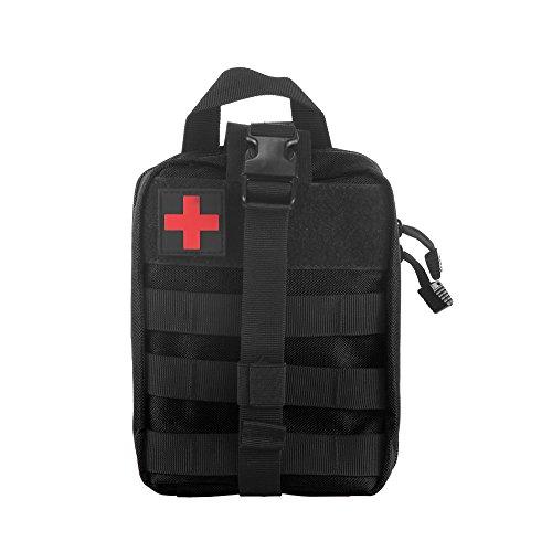 Winbang Kit médical Tactique, Trousse de Secours Tactical Molle Sac de Poche EMT Rip-Away IFAK Medical pour Situation Tactique d'urgence (Noir)