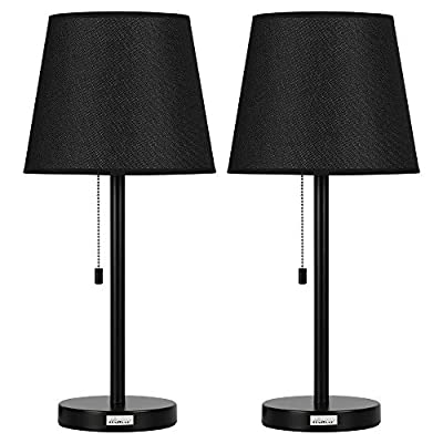 Set of 2 Black Night Stand Lamps