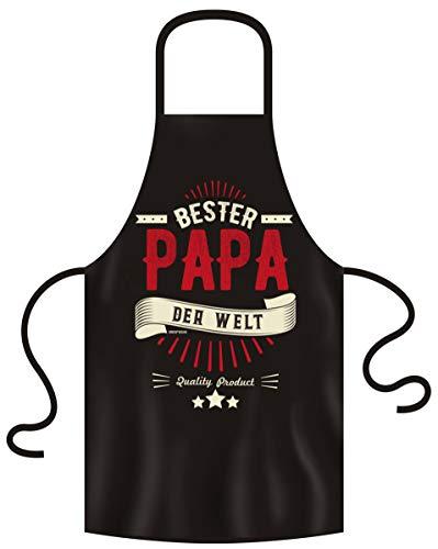 Geburtstagsgeschenk für Papa Schürze mit Spruch Bester Papa der Welt :-: für Vater Vatertagsgeschenk mit Urkunde Farbe:schwarz