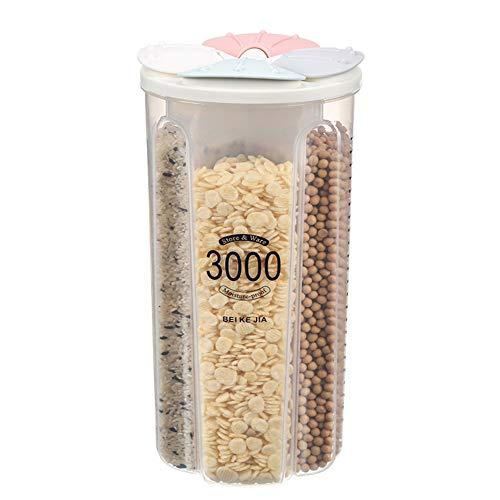Contenedor de Cereales de Plástico, Jarras de Almacenamiento de Plástico con Tapa...