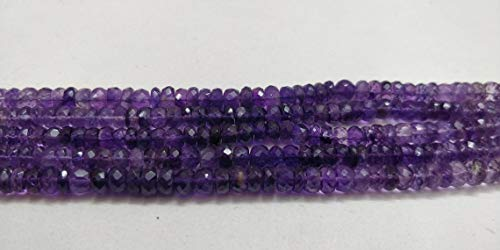 AAA+ Natural Purple Amethyst Faceted Rondelle Beads, Multi Shades Amethyst Rondelle Beads, Amethyst Making Jewellery Beads,21Cms Strand