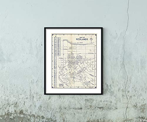 Map|of Redlands, California 1938|Historic Antique Vintage Reprint|Size: 20x24|Ready to Frame