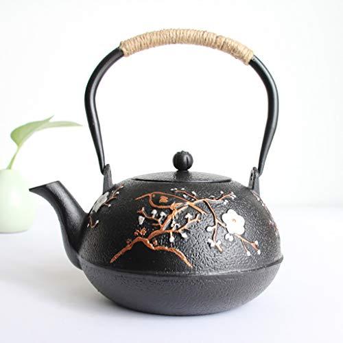 Q-HL Teteras hierro fundido Juegos de té Café Tetera de hierro fundido con infusor removible estilo japonés Tetsubin Tetera 1.2L |Tetera de hierro fundido para mantener el té caliente |Caldera de hier