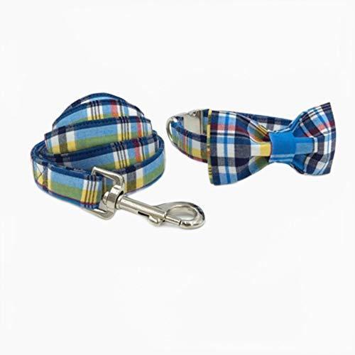 FANJIA Collar De Perro Conjunto DeCollar Y Correa para Perrocon PajaritaCollar para Perro Y Gato Y Correa para Perro para Regalo De Mascota Blue Stripe
