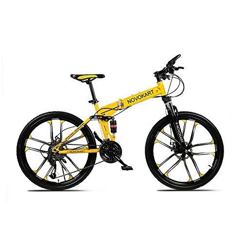 DOMDIL- Bicicletas Montaña Plegables, Mountain Bike Unisex, 26 Pulgadas, MTB para Hombre/Mujer, Freno Doble Disco, Rueda de Radios, 21 Velocidad de Cambio, Amarillo