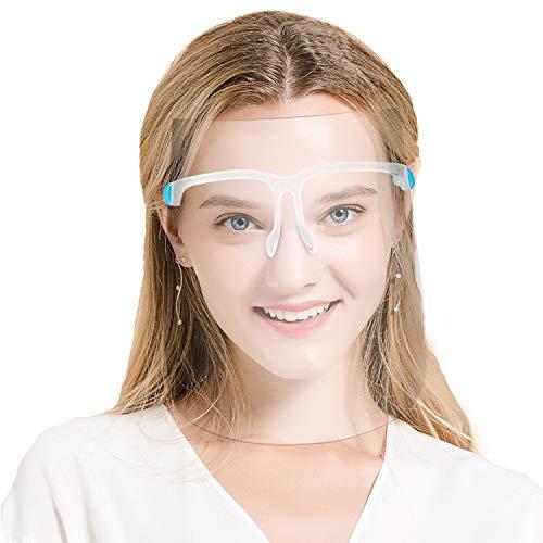 DISEN Protector de Protección Facial, Visera de Cara Completa Compatible con Gafas, Protector de Película Transparente Anti Aalpicaduras y Saliva para Hombres y Mujeres (10 Visores, 5 Marcos)