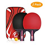 Weeygo Professionnel Set de Tennis de Table, Raquette De Tennis De Table, 2 Raquettes...