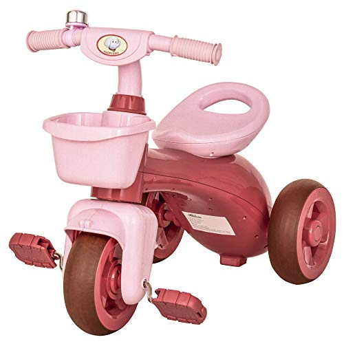 Qaba Tricycle 3-Wheeler Ride-on Toy with 2 Storage Baskets on Front & Back & Non-Slip Handlebar, Pink