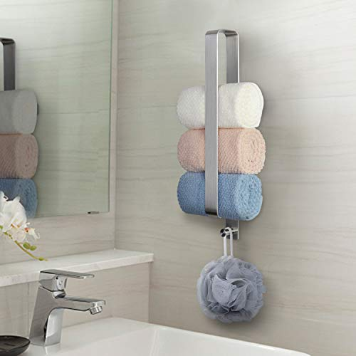 JSVER Handtuchhalter Ohne Bohren Gästehandtuchhalter Selbstklebend Handtuchstange Bad Edelstahl 42cm mit Haken für Gerollte Gästetücher