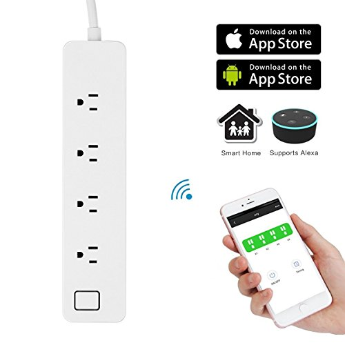 MRTech WIFI Smart Power Strip Surge Protector, Voice Control with Amazon Alexa and Google Home, Individual Control, Timing Function, Remote Control Outlet Strip Via App for Smart Phones