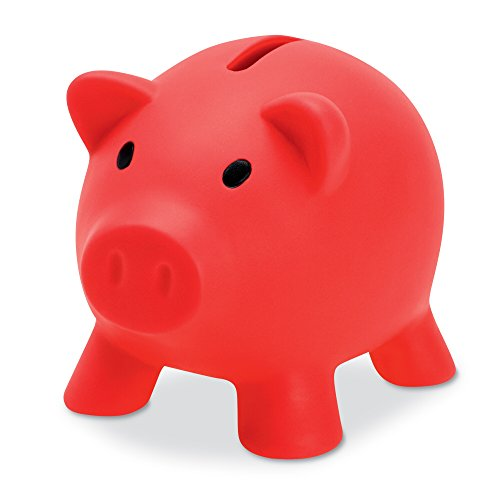PromotionGif spaarpot voor munten en contant geld, kunststof, varken, rood