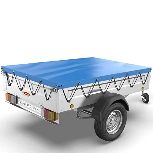 Tarpofix® Anhängerplane Flachplane 250 x 130 x 8 cm inkl. Planenseil - langlebige randverstärkte Anhänger Abdeckplane - Ideal passend für Böckmann TPV EU3 EB3 & diverse Hänger bis 1000 kg
