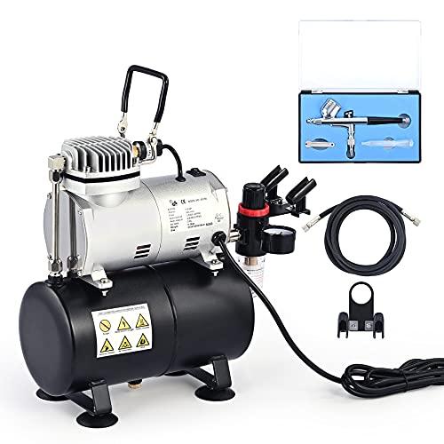 CO-Z Kit de Aerógrafo con Compresor de Pistón Único 1/6HP con 3L Tanque Compresor de Aerógrafo con Pislota de Doble Accción 0.35mm Airbrush Profesional para Modelismo, Pintura o Camiseta