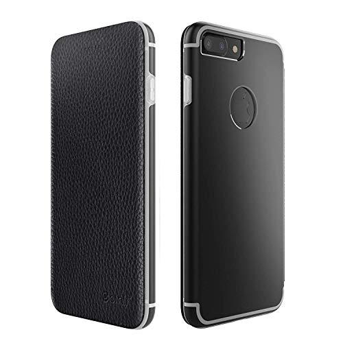 Leder Hülle kompatibel mit iPhone 7 Plus Schutzhülle Flip Cover Case mit Aluminium Back in Schwarz