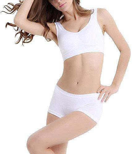 FeelBlue Cotton Lycra Non-Padded Seamless Sports Bra for Girls/Women Gym, Yoga, Dance etc. White