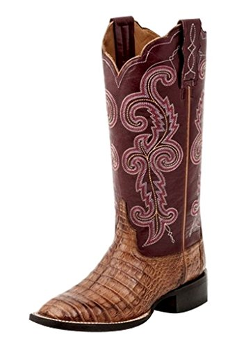 """Lucchese Womens Annalyn Crocodile Embroidery Square Toe Western Cowboy Boots Mid Calf Low Heel 1-2"""" - Brown,Red - Size 10 C"""