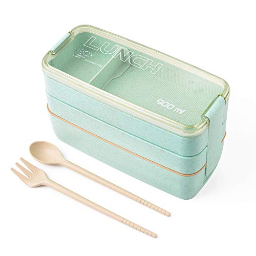 Hivexagon bento box para niños y adultos, la caja del almuerzo con los utensilios de 3-en-1 compartimentos, biodegradable paja de trigo eco-friendly bento (verde)