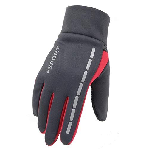 Mens Winter Therm Mit Anti-Rutsch-Elastik-Manschette Thermo-Soft-Handschuhe Man wasserdichte Sporthandschuhe Fahren Radfahren Warme Handschuhe-Gray-1-b5