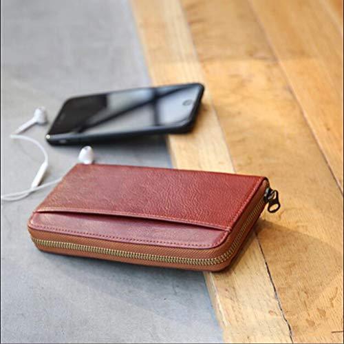 MYMAO 01Wallet, handgemaakt leer, portemonnee voor mannen en vrouwen, worstelen, plantaardige huid, Japanse lange portemonnee