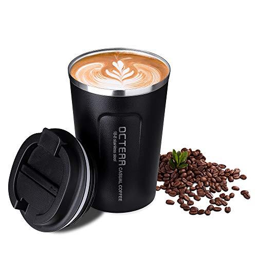 OCTERR マグカップ 保温 コーヒーカップ コンビニカップ 携帯マグ 保冷 タンブラー 真空断熱 ステンレス製 蓋付き 持ち運び 直接ドリップ プレゼントに 380ML ブラック