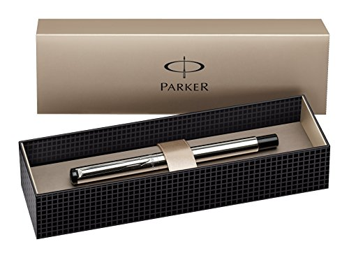 Parker S0723480 Vector Füllfederhalter (edelstahl mit edelstahleinfassung, mittlere Schreibfeder, Geschenkbox)