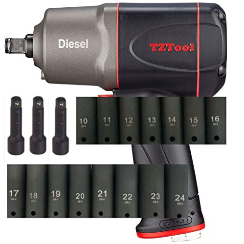 TZTOOL 1200 All new Diesel 1/2' Air Impact wrench kit [ mm size sockets ]