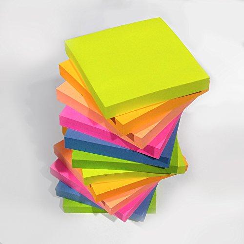 EVG, 1200 foglietti adesivi per appunti,in colori fluo assortiti, removibili, misura 76x 76mm, 12blocchetti da 100confezionati singolarmente